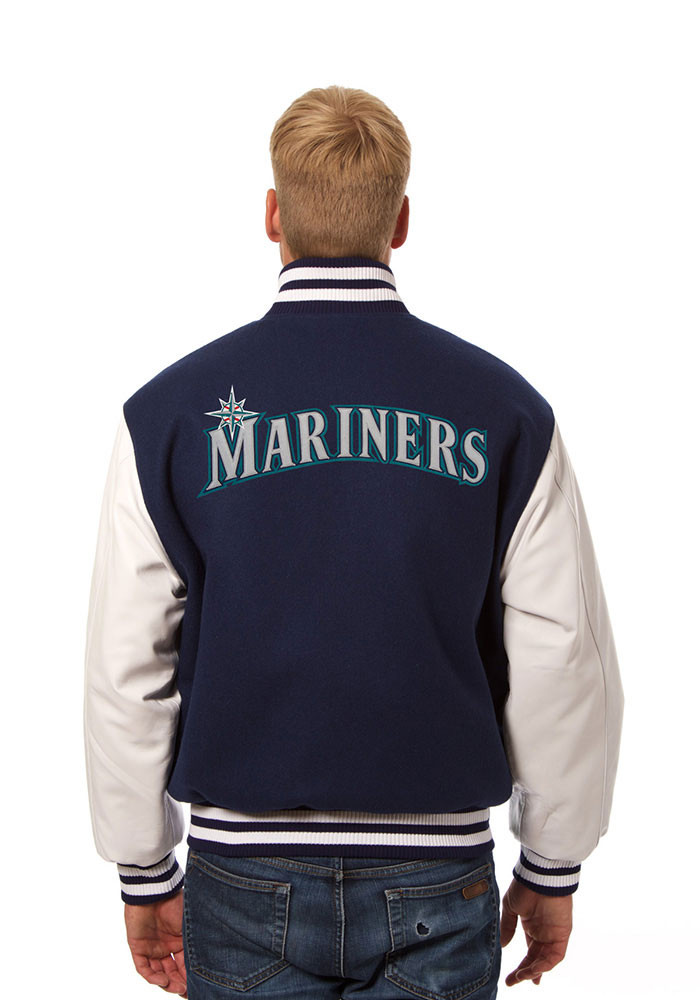 Seattle Mariners Mens Blue Wool body, leather sleeve jacket Heavyweight Jacket - Image 2