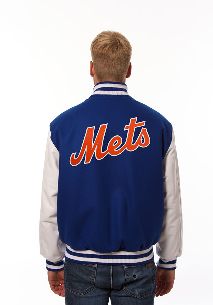 New York Mets Mens Blue Wool body, leather sleeve jacket Heavyweight Jacket - Image 2