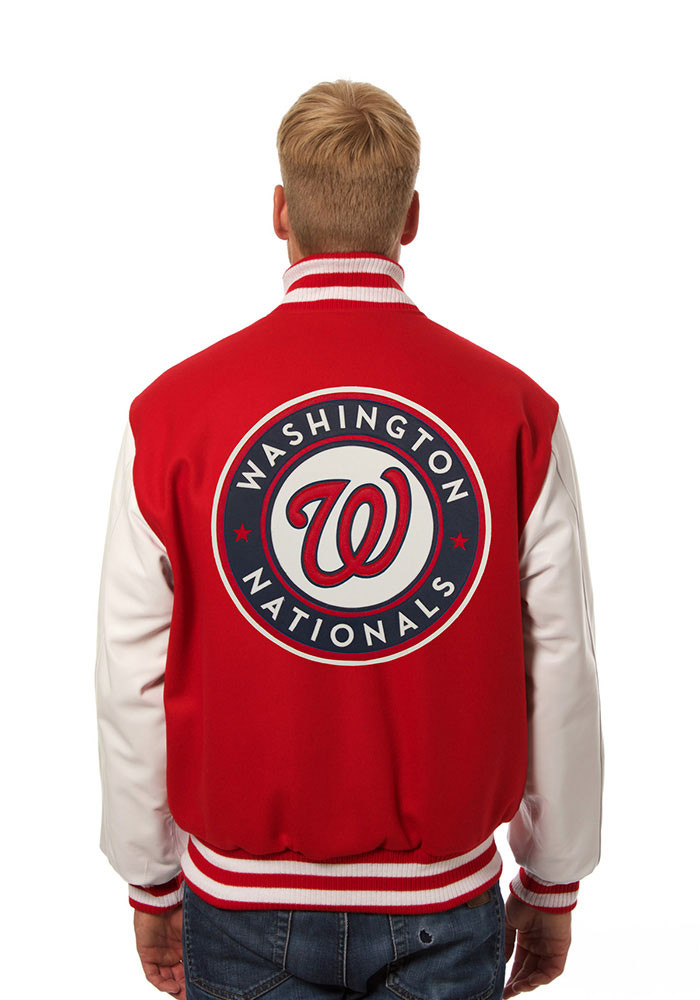 Washington Nationals Mens Red Wool body, leather sleeve jacket Heavyweight Jacket - Image 2