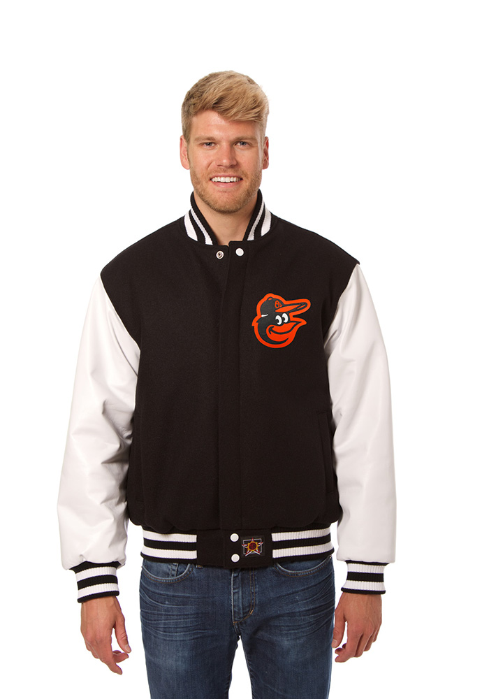 Baltimore Orioles Mens Black Wool body, leather sleeve jacket Heavyweight Jacket - Image 1