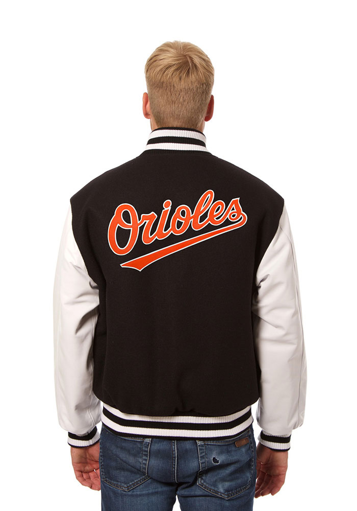 Baltimore Orioles Mens Black Wool body, leather sleeve jacket Heavyweight Jacket - Image 2
