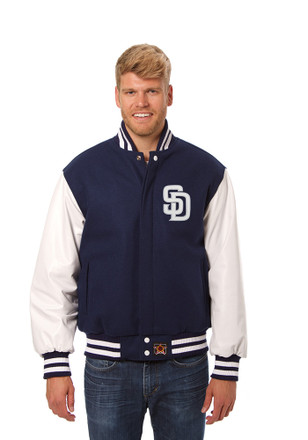 San Diego Mens Navy Blue Wool body, leather sleeve jacket Heavyweight Jacket