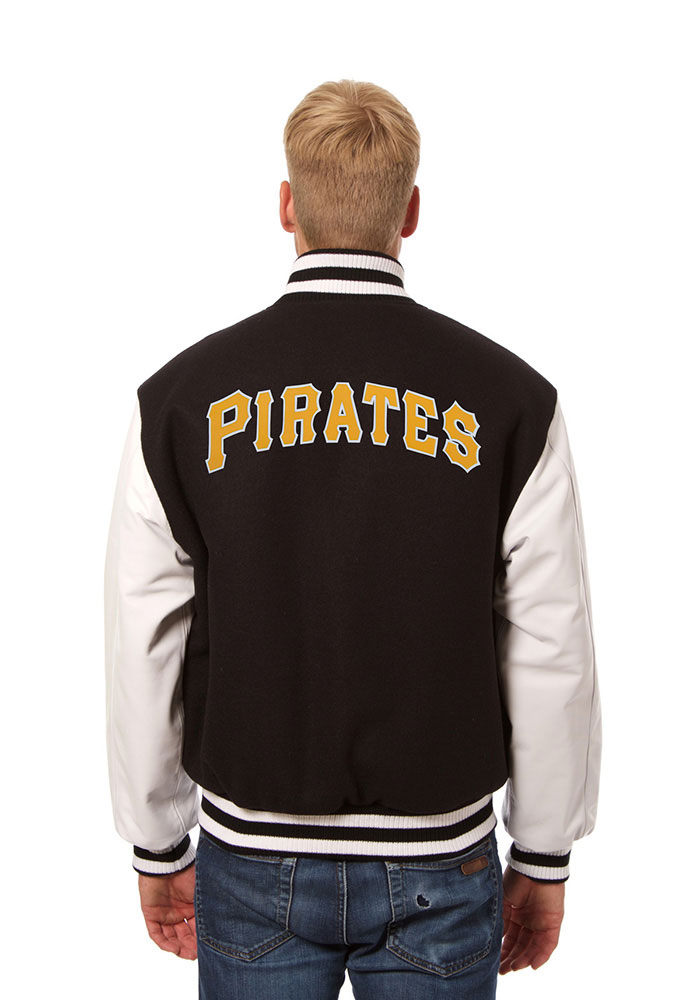 Pittsburgh Pirates Mens Black Wool body, leather sleeve jacket Heavyweight Jacket - Image 2