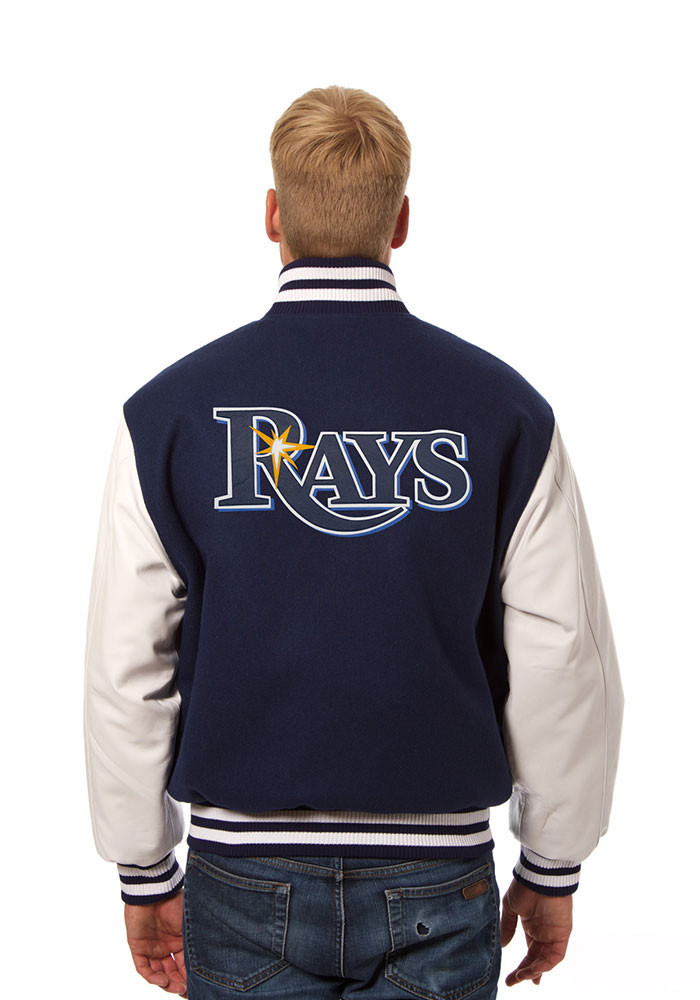 Tampa Bay Rays Mens Navy Blue Wool body, leather sleeve jacket Heavyweight Jacket - Image 2