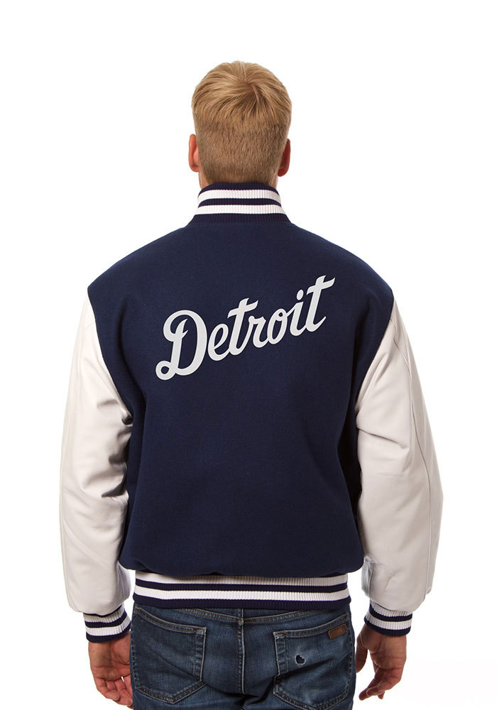 Detroit Tigers Mens Navy Blue Wool body, leather sleeve jacket Heavyweight Jacket - Image 2