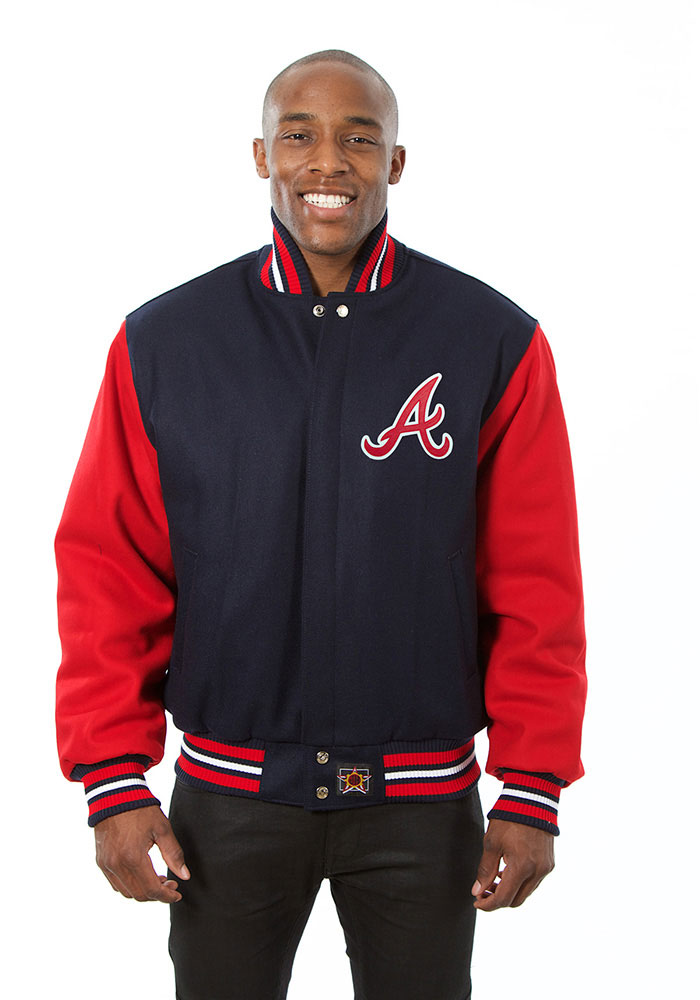 Atlanta Braves Mens Navy Blue All wool jacket Heavyweight Jacket - Image 1