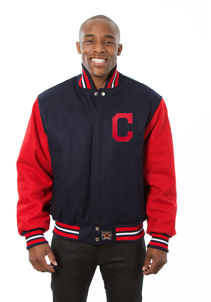 Cleveland Indians Mens Navy Blue All wool jacket Heavyweight Jacket - Image 1