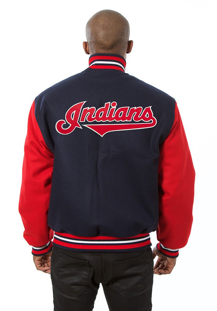 Cleveland Indians Mens Navy Blue All wool jacket Heavyweight Jacket - Image 2