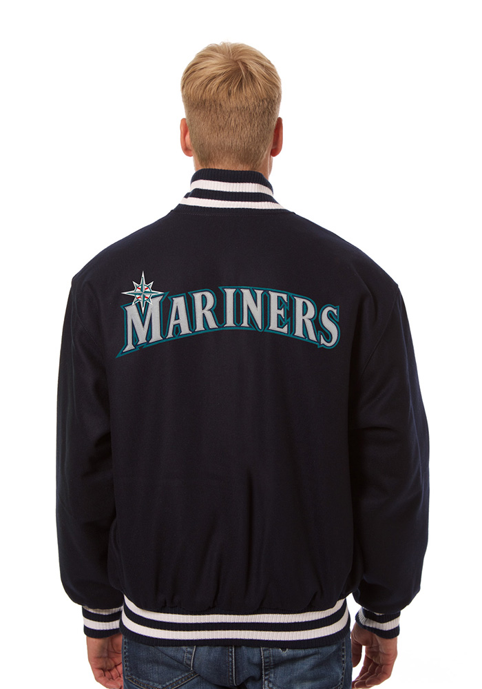 Seattle Mariners Mens Navy Blue All wool jacket Heavyweight Jacket - Image 2