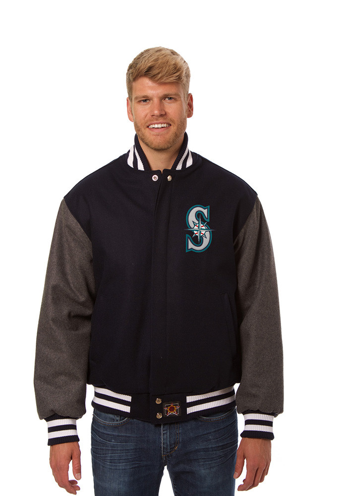 Seattle Mariners Mens Blue All wool jacket Heavyweight Jacket - Image 1