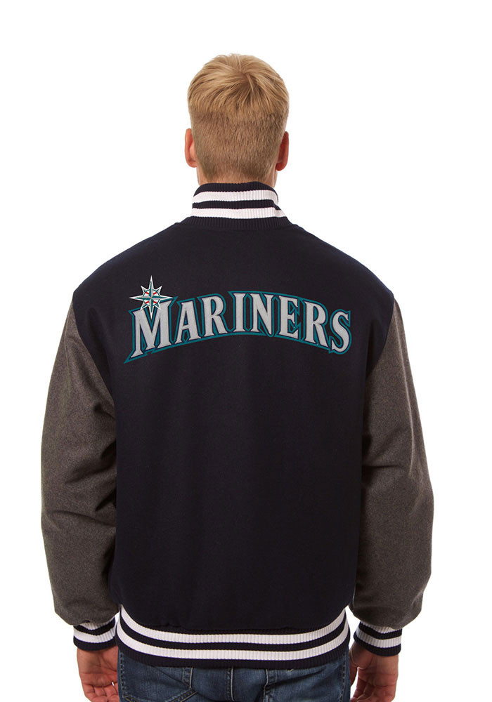 Seattle Mariners Mens Blue All wool jacket Heavyweight Jacket - Image 2