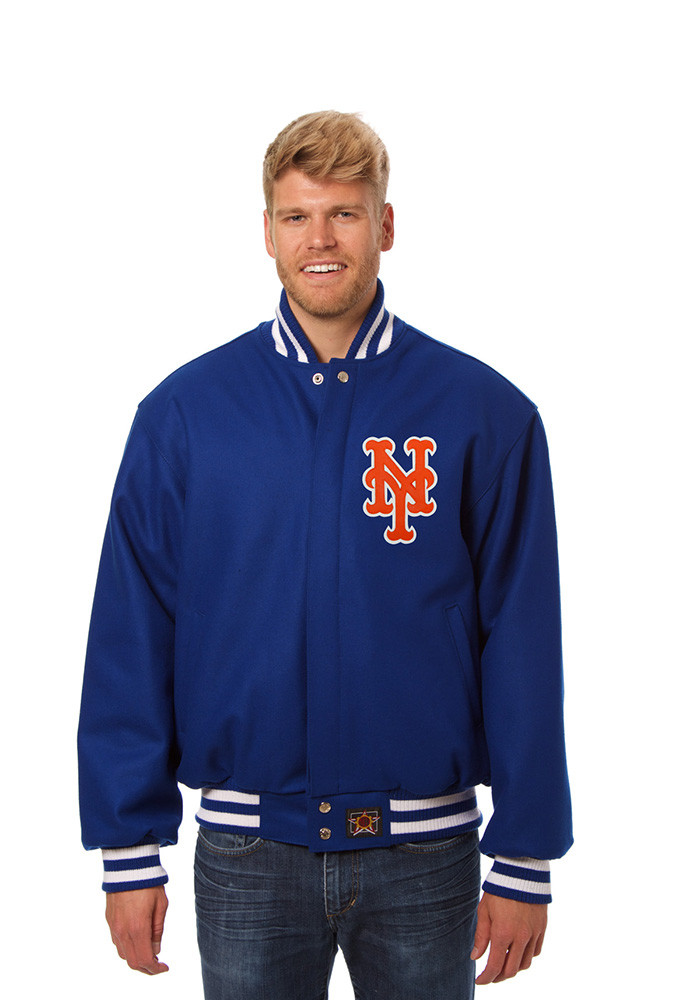 New York Mets Mens Blue All wool jacket Heavyweight Jacket - Image 1
