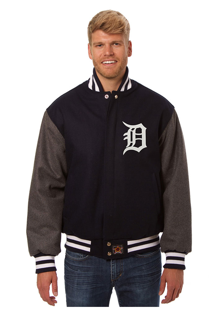 Detroit Tigers Mens Blue all wool jacket Heavyweight Jacket - Image 1
