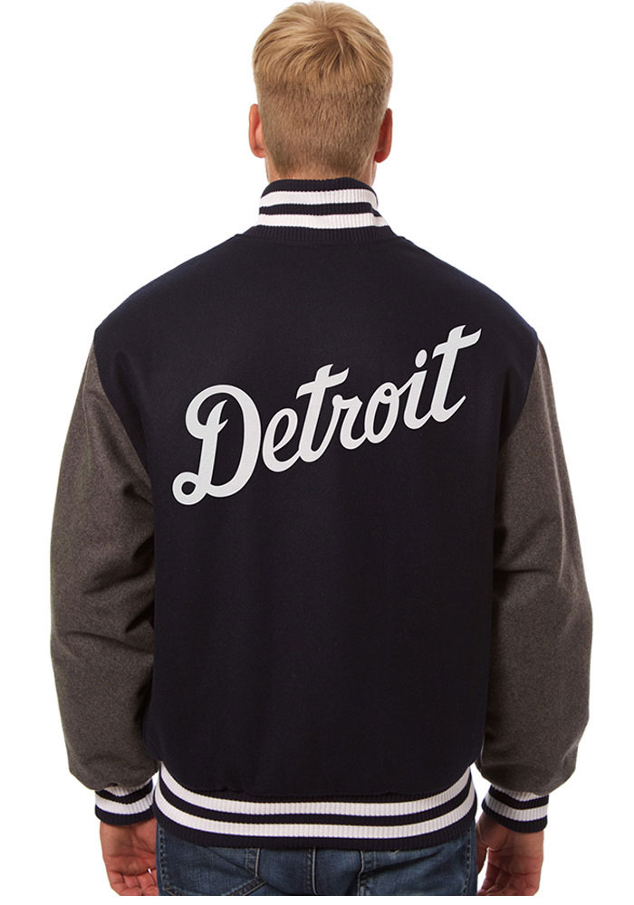 Detroit Tigers Mens Blue all wool jacket Heavyweight Jacket - Image 2