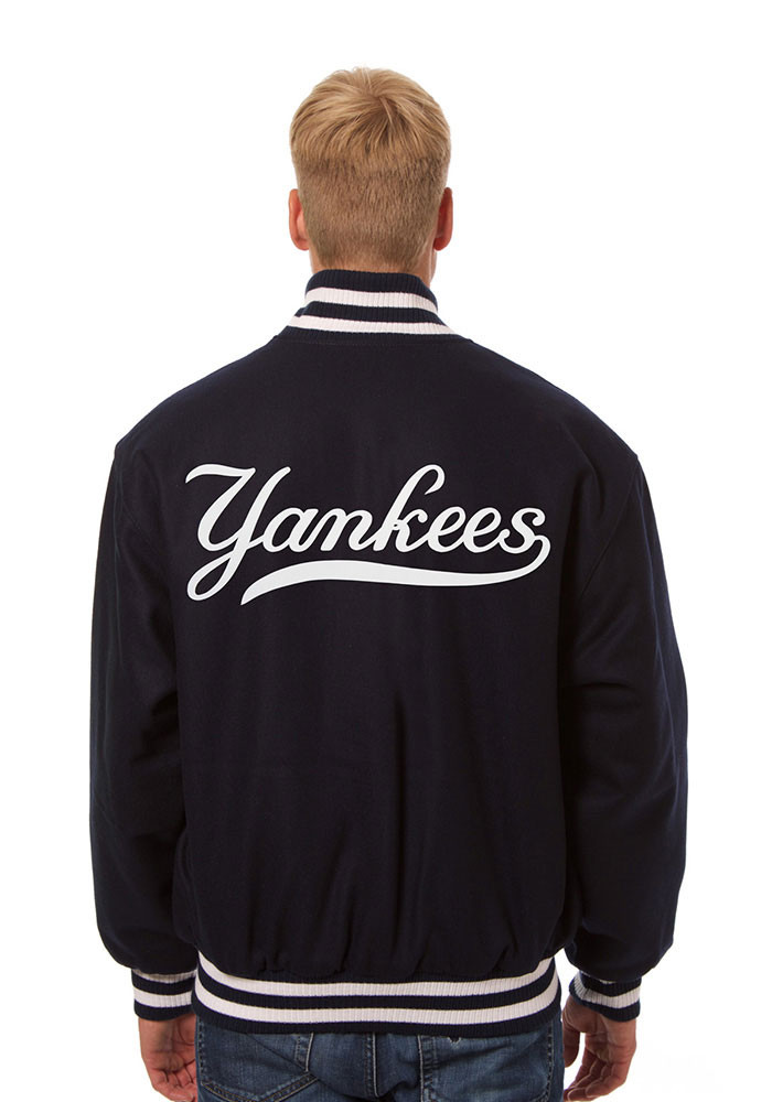 New York Yankees Mens Navy Blue all wool jacket Heavyweight Jacket - Image 2
