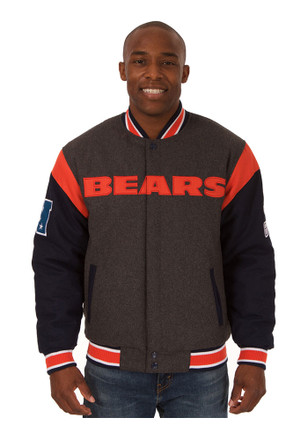 Chicago Bears Mens Grey Reversible Two-Tone Heavyweight Jacket