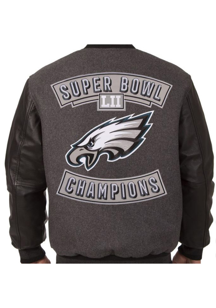 Philadelphia Eagles Mens Grey Super Bowl Champs Heavyweight Jacket - Image 2