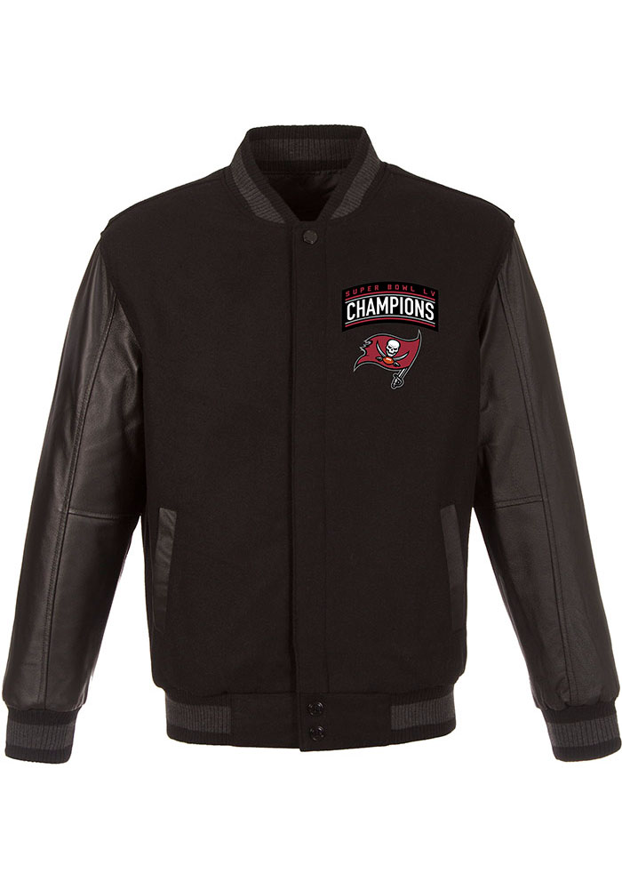 Tampa Bay Buccaneers Mens Black Super Bowl LV Champions Wool Leather Heavyweight Jacket - Image 1