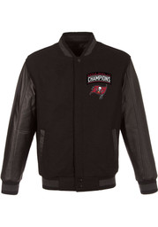 Tampa Bay Buccaneers Super Bowl LV Champions Wool Leather Heavyweight Jacket - Black