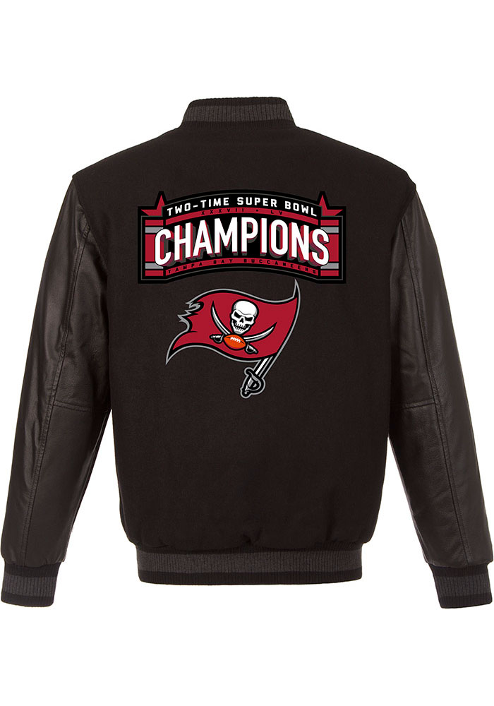 Tampa Bay Buccaneers Mens Black Super Bowl LV Champions Wool Leather Heavyweight Jacket - Image 2