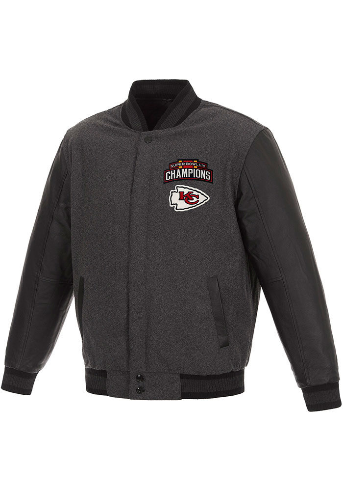 Kansas City Chiefs Mens Grey Super Bowl LIV Champions Wool/Leather Heavyweight Jacket - Image 1