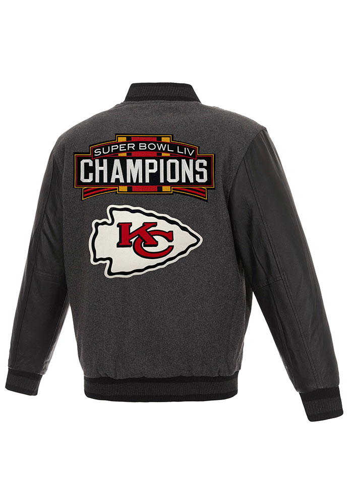 Kansas City Chiefs Mens Grey Super Bowl LIV Champions Wool/Leather Heavyweight Jacket - Image 2