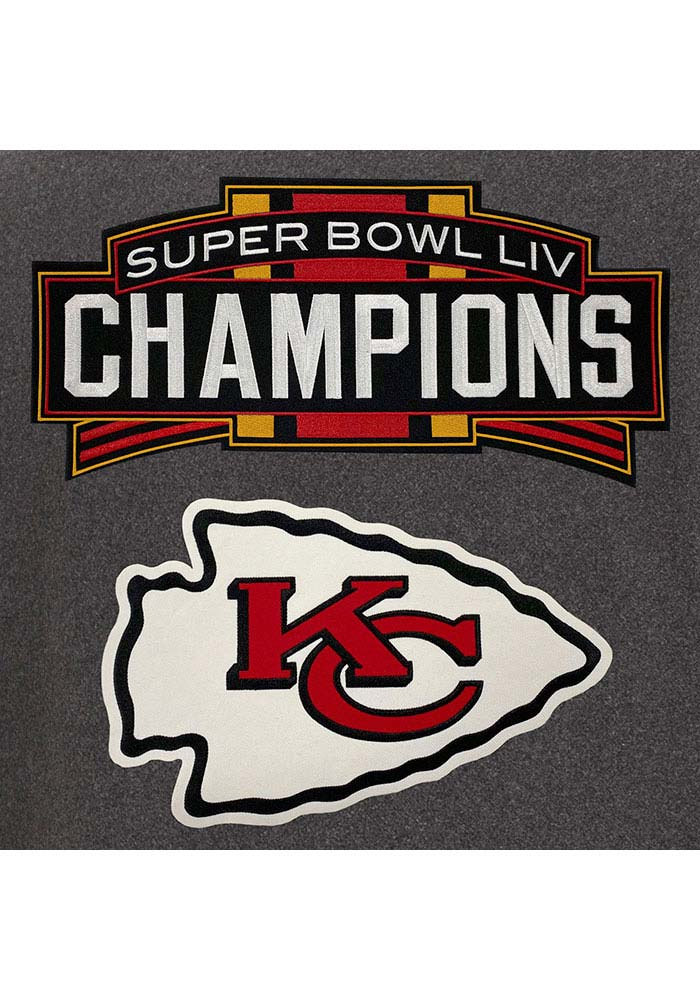 Kansas City Chiefs Mens Grey Super Bowl LIV Champions Wool/Leather Heavyweight Jacket - Image 3
