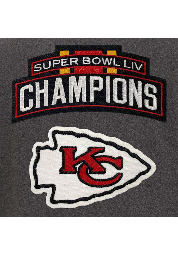 Kansas City Chiefs Mens Grey Super Bowl LIV Champions Wool/Leather Heavyweight Jacket - Image 4