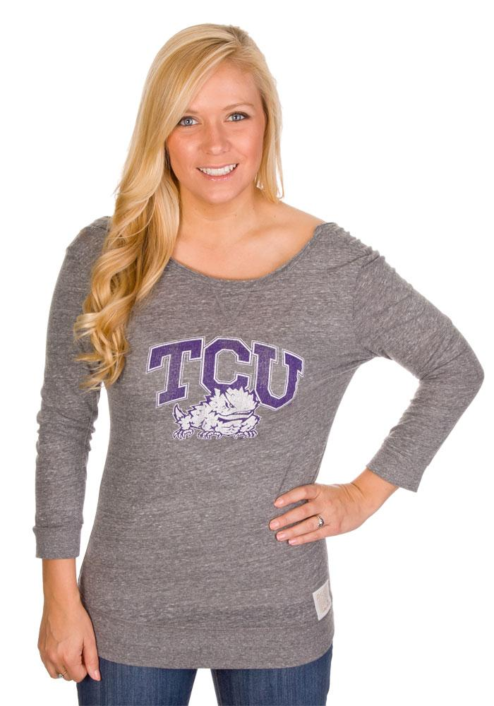 Original Retro Brand Horned Frogs Juniors Purple Tri-Blend Long Sleeve Scoop Neck - Image 2