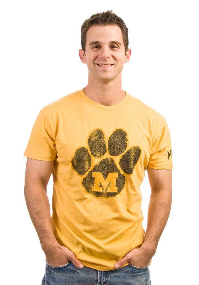 Original Retro Brand Missouri Tigers Mens Gold Paw Short Sleeve Fashion T Shirt - Image 1