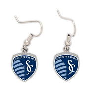 Sporting Kansas City Womens Silver Logo Dangle Earrings - Navy Blue