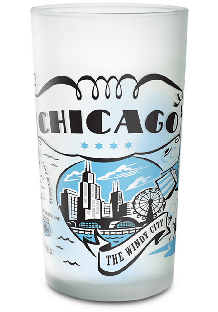 Chicago Frosted Glass Pint Glass - Image 1