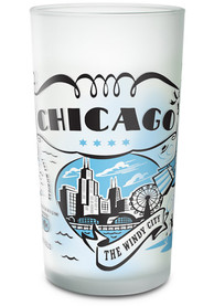 Chicago Frosted Glass Pint Glass