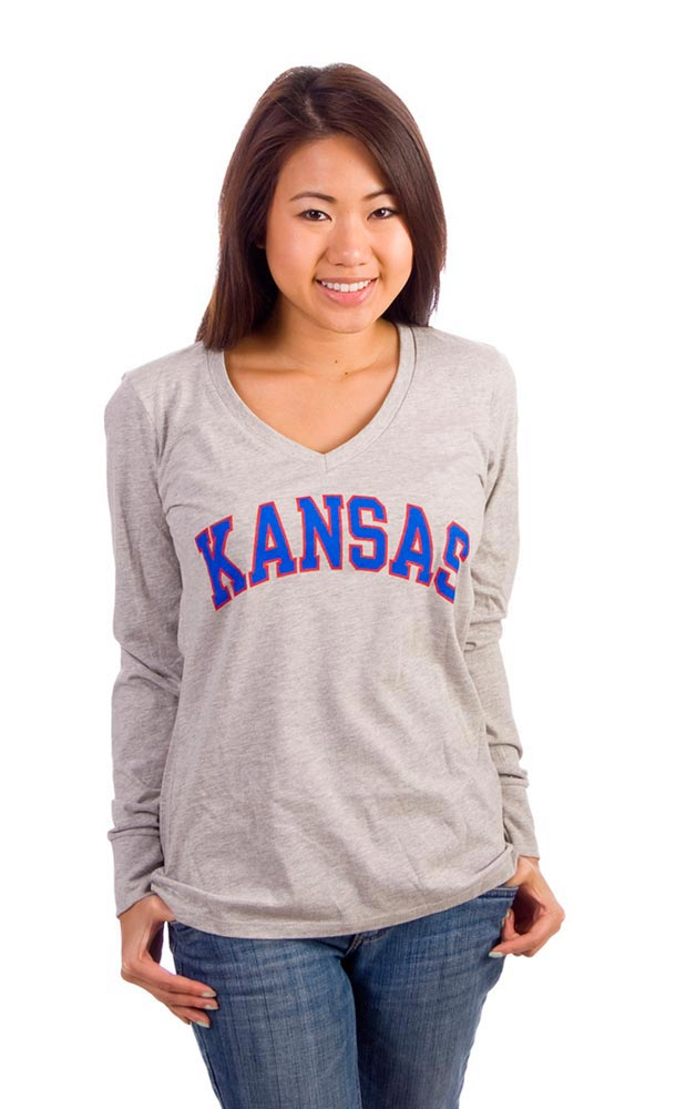 Kansas Jayhawks Juniors Grey Evolution Long Sleeve T-Shirt - Image 1