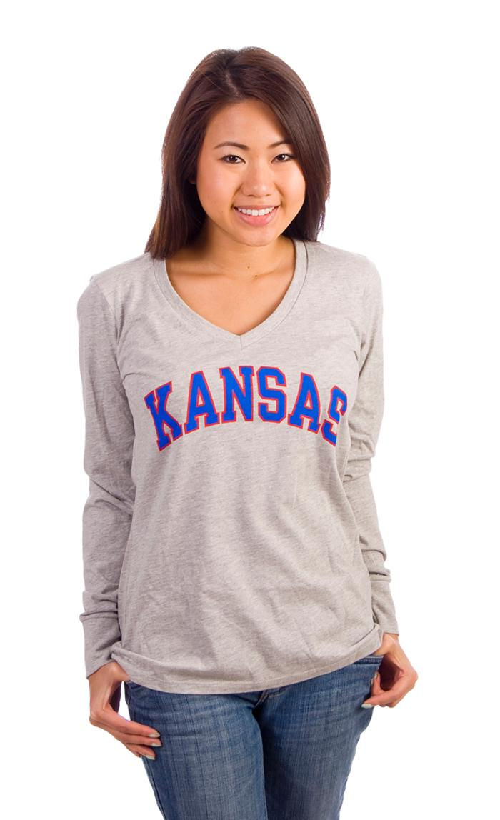 Kansas Jayhawks Juniors Grey Evolution Long Sleeve T-Shirt - Image 2