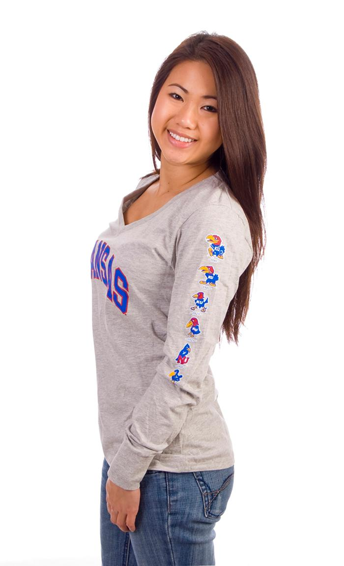 Kansas Jayhawks Juniors Grey Evolution Long Sleeve T-Shirt - Image 3