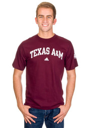 Adidas Texas A&M Mens Maroon Arch Tee