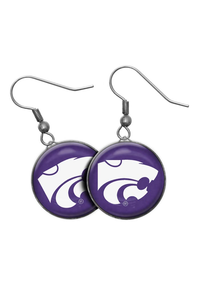 K-State Wildcats Domed Dangle Womens Earrings - Image 1