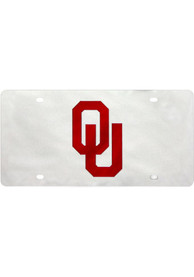 Oklahoma Sooners Logo on Silver Car Accessory License Plate