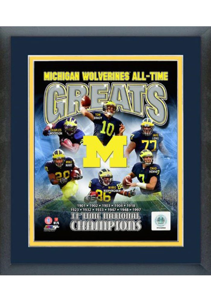Michigan Wolverines All Time Great Frame Framed Posters - Image 1