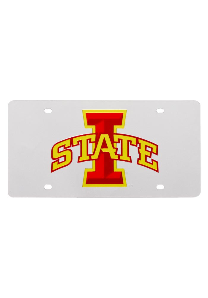 Iowa State Cyclones Team Logo Silver Car Accessory License Plate - Image 1