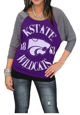 Gameday Couture K-State Wildcats Womens Vintage Dolman Scoop Neck Tee