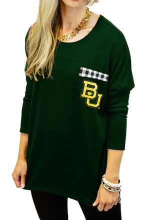 Gameday Couture Baylor Womens Oversized Ginham Piko Green LS Tee