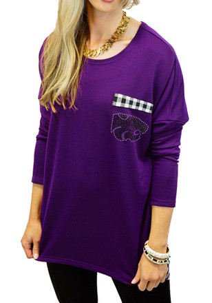 Gameday Couture K-State Wildcats Womens Oversixed Gingham Piko Purple LS Tee