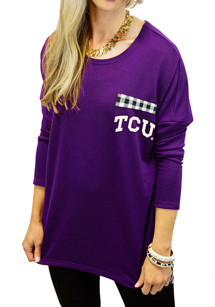 Gameday Couture Horned Frogs Womens Oversized Gingham Piko Purple LS Tee 7910098