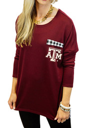 Gameday Couture Texas A&M Womens Oversized Gingham Piko maroon LS Tee
