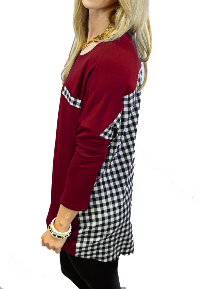 Gameday Couture Texas A&M Aggies Juniors Maroon Oversized Gingham Piko LS Tee - Image 2