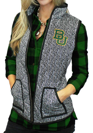 Gameday Couture Baylor Bears Womens Grey Herringbone Quilted Vest Vest