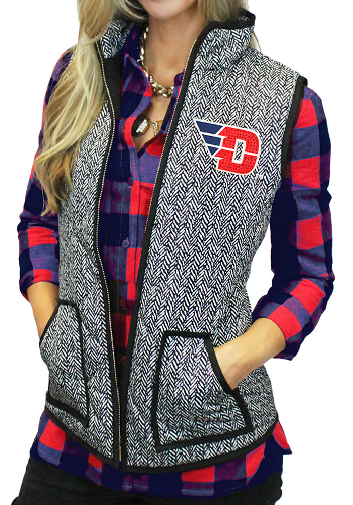 Gameday Couture Dayton Flyers Juniors Grey Herringbone Quilted Vest Vest - Image 1