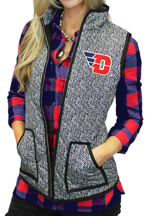 Gameday Couture Dayton Flyers Womens Grey Herringbone Quilted Vest Vest
